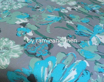 """silk fabric, ribbed silk cotton blend floral print fabric, Fat Quarter, 18"""" by 22"""""""