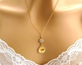 Swarovski AB Crystal Necklace, Rhinestone Bridal Necklace, Swarovski Bridesmaid Jewelry, Yellow Wedding Jewelry, Gold Fill, Prom Jewelry