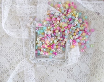 Flat Back Pearls, 5mm, Springtime Mix, Scrapbooking, Embellishment, Cards, Crafts, DYI