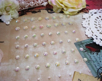 72 Self Adhesive Acrylic Rhinestones Iridescent White For Scrapbooking Mini Albums Paper Crafts Tags Cards and DIY