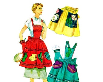 Vintage 1950s Apron Pattern Full Bib Mexicali Simplicity 4062 One Size
