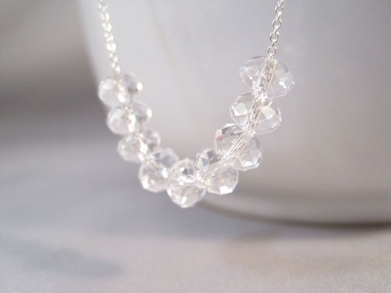 Carrie Paris Crystal Necklace, Paris Crystal Necklace, Simple Crystal Necklace, Crystal Necklace, Minimalist Necklace, Bridesmaid Necklace