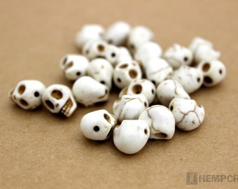 Skull Beads, Tiny White Day of the Dead Stone Beads, Halloween Beads, 24pc 9x8mm