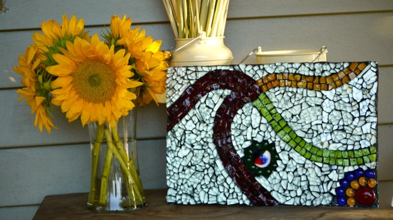Almost my brothers wedding gift - recycled glass art mosaic
