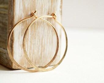 Simple hoop earrings -  gold fill hoops -  1 inch hoops earrings -  14k gold filled -  everyday earrings