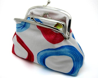 Circle Kiss lock Coin Purse Wallet Clutch Gift for Women Blue Red White Metal Double Frame Silver