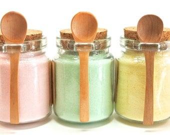 Flavored Sugar Set- Rose, Mint, & Lemon Sugar in Jar with Mini Wood Spoon, Tea Party, High Tea, Rimming Sugar, Lemonade, Baking, Coffee