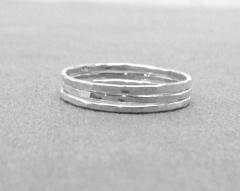 The Super Skinny Triple Stack, Three Sterling Silver Stacking Rings, Three Rings, Three Ring Bands, Sterling Silver Rings, Thin Rings