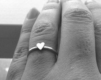 Skinny Heart Ring, Sterling Silver Heart Ring, Heart Ring, Sterling Silver Stacking Ring, Stacking RIngs, Small Heart Ring, Thin Heart Ring
