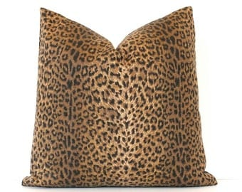 """Cheetah Print Decorative Designer Pillow Cover 18"""" Accent Throw Cushion spots brown black camel leopard Animal spotted tan nature jungle"""