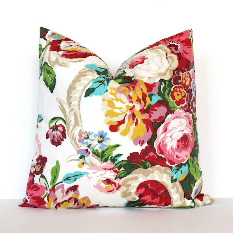 Modern Botanical Pillow : Pink Green Teal Floral Designer Pillow Cover accent cushion