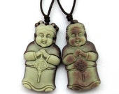 Pair Of Two Layer Natural Stone Good Blessing Word FU Happy Lucky Child Amulet Pendant 37mm x 20mm  ZP051