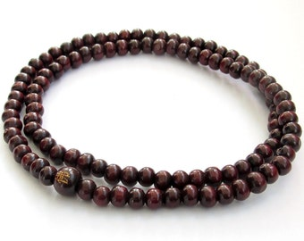 Purple Wood 108 Beads Tibet Buddhist Buddha Prayer Stretchy Mala Necklace FO  ZZ054