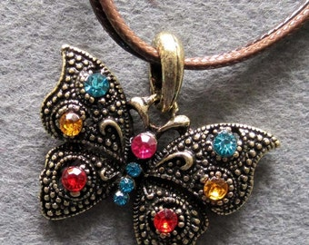 Colorful Acrylic Diamond Inlaid Alloy Metal Butterfly Charm Pendant Bead Necklace 36mm x 28mm  T2215