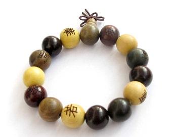 14mm Three Fortune Wood Prayer Beads Hand String Mala Tibet Buddhist Bracelet  T2572