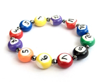 Colorful Fimo Polymer Clayer Number Beads Wrist Bracelet For Women 12mm*8mm  T3191