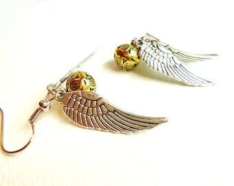 Steampunk Gold Orb & Silver Wing Earrings, Nerdy Gifts
