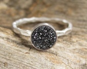Tiny Black Druzy Ring Titanium Drusy Quartz Sterling Silver Hammered Band
