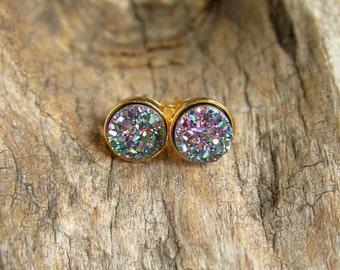 Tiny Druzy Earrings Peacock Drusy Quartz Studs Gold Vermeil Bezel Set