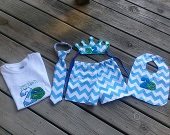 2nd birthday outfit - Embroidered crown, neck-tie, shirt, shorts, and bib