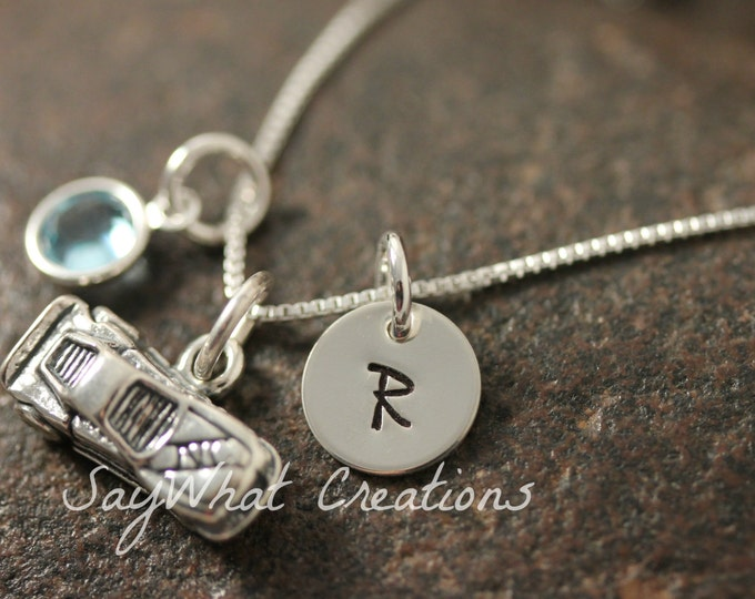 Sterling Silver Mini Initial Hand Stamped Racecar Race Car Charm Necklace