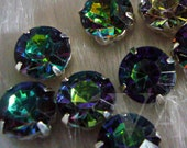 20p Sew On Rhinestones Crystal DIY Peacock Hues Greens Blues Round 10mm 4 hole Montee Faceted Acrylic Pronged Beads sewing Jewelry craft