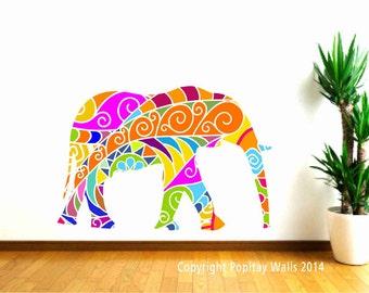 Colorful Elephant Wall Decal for Kids, Nursery Decal, Girls Bedroom Decor, Jungle Animal Decal, Zoo Animal, Safari Animal Decor, Baby Gift