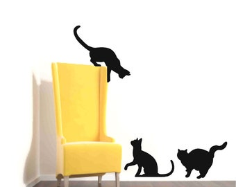 Cat Wall Decals, Black Cat decor, Cat Lovers gift, Apartment Wall decor, Veterinarian Office, Cat Wall Decor, Cat silhouette, Animal shelter