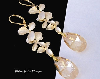 Champagne Wedding Jewelry Gold Orchid Earrings Flower Bridal Bridesmaid Jewelry Prom Earrings Maid of Honor
