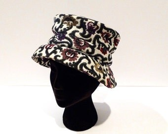 Tapestry Bucket Hat Vintage Brocade Hat 1960s 1970s Brimmed Hat Self Fabric Hatband Mod Floral Hat Boho Fall Hat Hippie Gypsy winter spring