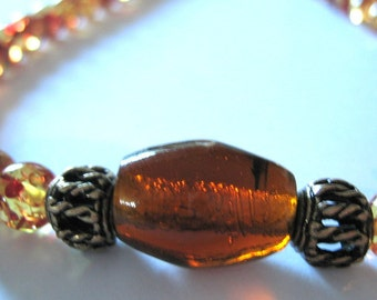 AMBER Beads Necklace with GLASS and BRASS Feature Bead