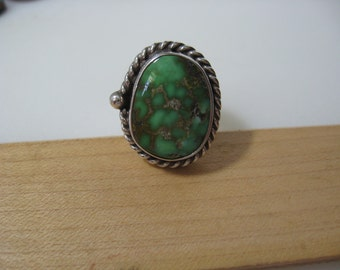 Carico Lake Turquoise Sterling Silver Ring Size 8
