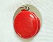"24"" necklace Vintage bakelite pendant marbled red"