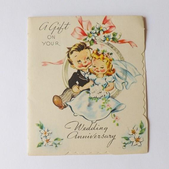 Antique Wedding Anniversary Gifts: Vintage Wedding Anniversary Gift Enclosure Card By