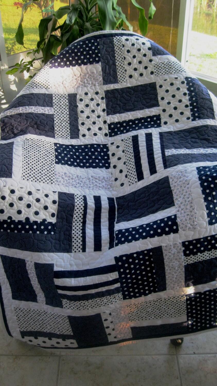 baby nursery crib quilt boy navy blue white modern