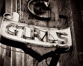 Downtown Los Angeles Dancing Girls Sign - Vintage Neon Sign - Retro Home Decor - Typography - Black and White - Fine Art Photography