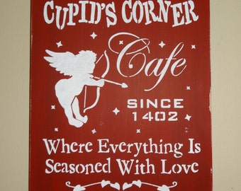 Welcome to Cupids Corner Cafe Valentines Day Sign Decoration