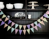 Pastel Pennant Banner, Wedding Backdrop, Flag Banner, Wedding Garland, Pennant Garland, Pennant Banner, Birthday Garland - Pastel Hues