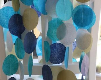 Tissue Paper Garland, Party Garland, Birthday Garland, Wedding Garland, Shower Garland, Blue Garland - Peacock Hues