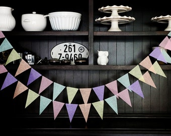 Pastel Pennant Banner, Wedding Backdrop, Flag Banner, Wedding Garland, Pennant Garland, Pennant Banner, Birthday Garland - Pastel Hues
