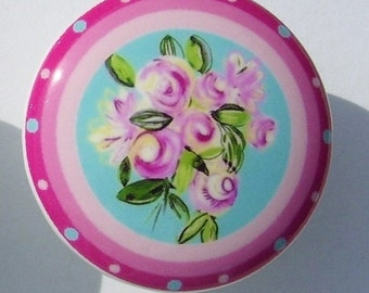 1 (one) GIRLY PINK BOUQUET flower print mtm bedding set baby  kids  Dresser Drawer Knob