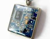 Computer Chip Circuit Board Necklace — Blue, Square Domed — Geek Chic Jewelry