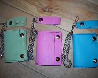 Handmade USA Leather Biker Trucker Trifold Wallet w/ Chain Turquoise Pink Green