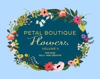 Petal Boutique Flower & Leaf Clip Art Vol. 2 - Blog Graphics - Instant Download PNG files