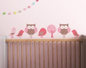 Baby Wall Decal Owl Baby Nursery Decor Wall Sticker Pink Brown. Birds and Owls Children Wall Decal