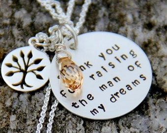 Personalized Wedding Gift For MIL,  Grooms Mom Gift, Tree Necklace, Mother Birthday In Law Gift,