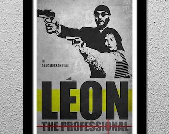 Leon The Professional - Jean Reno - Natalie Portman - Cult Original Art Poster Print