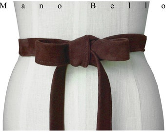 Classic belt - Suede Leather Strap Belt - Minimalist Basic Leather Tie Belt - Brown Bow Belt - Dark Brown Suede Lambskin belt - in stock