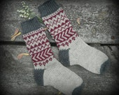 Hand knit socks from gray, maroon and antique white wool in Scandinavian pattern - crew length read to ship