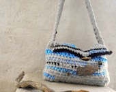 Crocheted bag - the natural look winter grey and blue